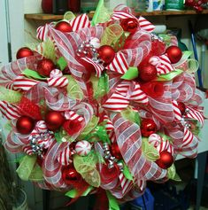 Candy Themed  Decomesh Christmas Wreath by SouthernAccentsEtc, $105.00