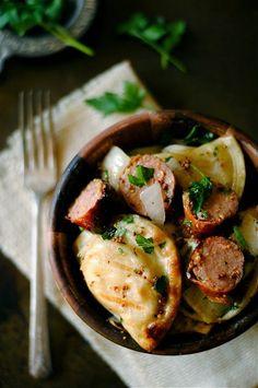 Grilled Pierogies and Kielbasa with Mustard Vinaigrette)