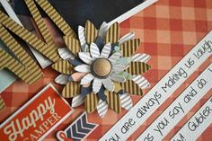 corrugated paper flower and title