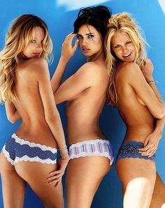 Victoria's Secret Girls Candice Swanepoel, Adriana Lima & Erin Heatherton