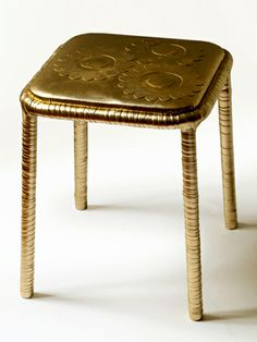 GOLDEN FLOWER STOOL - iron, eco leater
