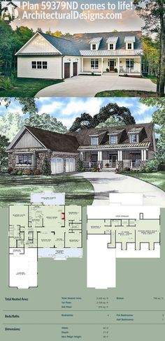 Architectural Designs House Plan 59379ND gives you 4 beds and over 2,400 square feet of living. And looks GREAT when built! Ready when you are. Where do YOU want to build?