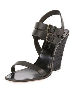 X3ZHD Saint Laurent Leather Wedge Espadrille Sandal