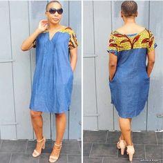 African Print On Denim Dresses - AfroCosmopolitan Modern African Print Dresses, African Print Skirt, Latest African Fashion Dresses, African Dresses For Women, African Print Fashion, African Attire, African Wear, African Clothes, Fashion Models