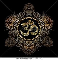 Diwali Om symbol with mandala. Round golden Pattern on black background. Mandala Artwork, Mandala Drawing, Hippie Festival, Om Art, Hindu Symbols, Magic Design, Golden Pattern, Tibetan Art, New Media Art