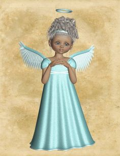 Angel Image, Teal Blue Angel Cutout, 3D Angel Template, Large 3D Angel Graphics Sheet Transfer Template, Transparent Background, Angel by FosterChildWhimsy on Etsy