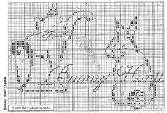 Cat, Carrot and Rabbit Cross Stitch Freebies, Cross Stitch Cards, Cross Stitch Animals, Cross Stitching, Cross Stitch Designs, Cross Stitch Patterns, Crochet Patterns, C2c Crochet, Filet Crochet