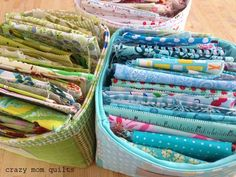 crazy mom quilts: scrap storage fabric basket pattern in Sunday morning quilts
