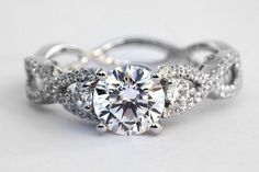 PLATINUM Diamond Engagement Ring - 1.00 carat Round - Pave - Antique Style - Weddings- Luxury- Brides. $3,000.00, via Etsy.