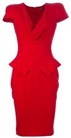 ALEXANDER MCQUEEN ARCHIVE Peplum Dress.  Red is always striking.
