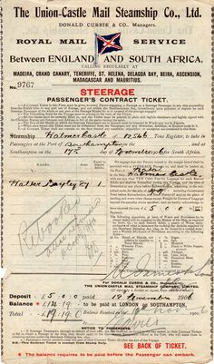 Steamship Contracts such as this one from the Union Castle Line form a valuable part of your family archives. Merchant Navy, My Scrapbook, Illustrations And Posters, Vintage Paper, Junk Journal, Ephemera, Ticket, South Africa, Castle