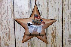 Americana Tin Star Primitive Folk Art Sheep Flag OFG by raggedyjan, $9.98