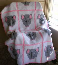 Elephant afghan I crocheted for my daughter for Christmas.