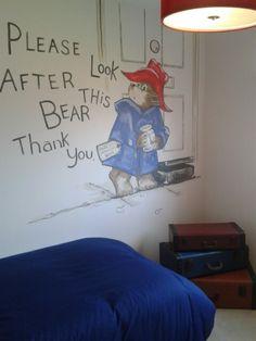 Paddington Bear mural in a boy's bedroom.