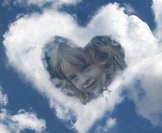 decorar fotos con un corazon de nubes