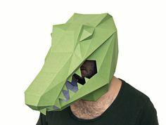 Make your own Alligator Mask, Crocodile Mask, Instant Pdf download, DIY Halloween Paper Mask, Polygon Masks, Printable Mask
