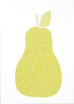 Siebdruck - BIRNE Siebdruck A3 Grün Plakat Pear Obst Küche - ein Designerstück von Morkebla bei DaWanda