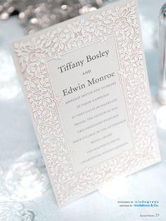 Invitation accent: Embossed papercut-looking printed invitation ---  Elegant Wedding magazine7