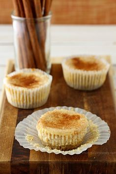Small Batch Mini Snickerdoodle Cheesecakes - a creamy cinnamon cheesecake in cupcake form with a snickerdoodle cookie crust - will disappear very quickly. Cinnamon Cheesecake, Homemade Cheesecake, Cheesecake Cupcakes, Cheesecake Recipes, Cupcake Recipes, Cupcake Cakes, Dessert Recipes, Coconut Cupcakes, Mini Cupcakes