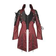 Punk Rave Poison Jacket Red Faux Leather Black Goth Steampunk Womens... ($150) ❤ liked on Polyvore featuring outerwear, coats, steam punk coat, red coat, goth coat, steampunk coat and vegan coats