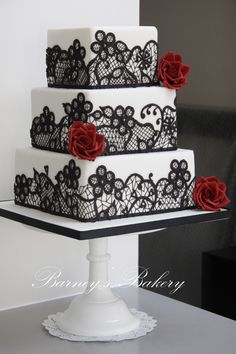 Square Wedding Cakes - Black, red and white wedding cake