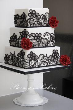 Square Wedding Cakes - Black, red and white wedding cake