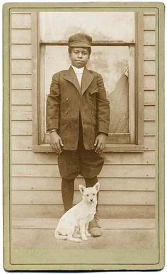 Vintage photo, boy with dog