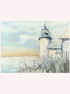 With a subtle wash of weathered greys, light blues and soft browns, the By the Sea I Canvas Giclee shows a glimpse of coastal lifeblood: the lighthouse.