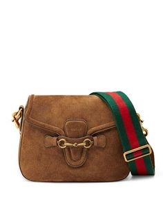 Lady Web Medium Suede Crossbody Bag, Brown by Gucci at Neiman Marcus