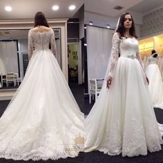 NextProm.com Offers High Quality Ivory Off The Shoulder Lace Embellished Wedding Dress With Long Sleeve,Priced At Only USD $208.00 (Free Shipping)