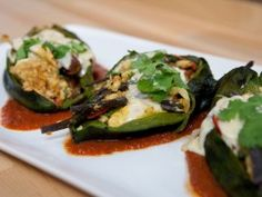 Migas-Filled Chile Rellenos with Pulled Chicken, Tomato Salsa and Chiuhaha Sauce from CookingChannelTV.com