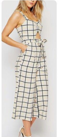 grid print jumpsuit-love the style not pattern. Cool Outfits, Summer Outfits, Casual Outfits, Fashion Outfits, Womens Fashion, African Fashion, Casual Looks, Casual Wear, Designer Dresses