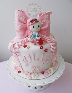 Hello Kitty I love the fondant curls like curly ribbon. That is a new one for me. Love it