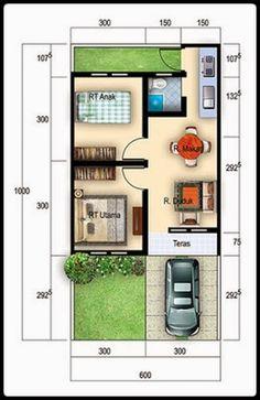 Trending Minimalist Home Design plans Type 36 2020 - Homestyles. Minimalist House Design, Small House Design, Minimalist Home, Small House Floor Plans, Casas Containers, Model House Plan, Bedroom House Plans, Home Design Plans, House Layouts