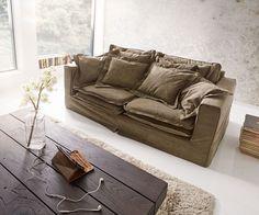 DELIFE Hussensofa Noelia 200x110cm Braun Couch mit Kissen, Big Sofas ...