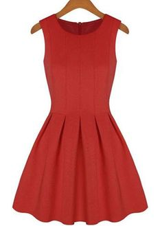 Catching Round Neck Sleeveless Red A Line Dress | Rosewe.com