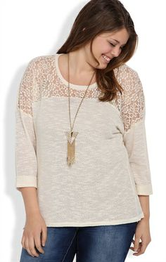 Plus Size Top with Roll Sleeves and Daisy Crochet Front Inset