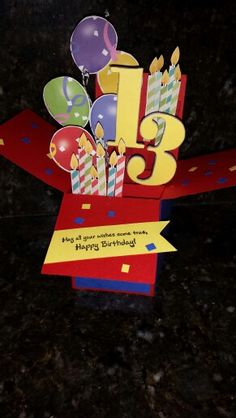 Box card that I made for grandson's birthday