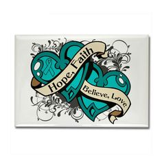 Interstitial Cystitis Hope Dual Heart Rectangle Ma by gifts4awareness