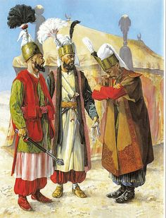 1500 - 1599 ottoman army officers of the Janissary corps in the 16th century AD.