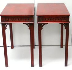 Red Chinese Chippendale bedside tables 13.5w 21.5d 24h