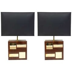 1970s Modernist Pair of Lamps in Brass and Wood