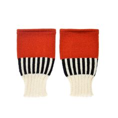 Back to Memphis | MARGOT & ME | Short Fingerless Gloves Katie | Colorful Wristwarmers with black and white stripes