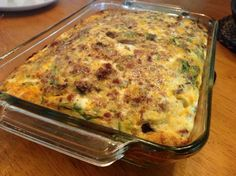 THM Breakfast casserole (S) 1/4c. Half and half 14 eggs 2c. Chopped Spinach 1lb. Sausage, fried 1c. Sour cream 1c. Cottage cheese 2c. Cheddar cheese Sliced mushrooms Peppers and onions Bacon  I fried the peppers, onions and mushrooms with my sausage. Whip eggs with remaining ingred. And sausage mixture. Pour into greased 9x13. Bake at 350 for 1 hr.