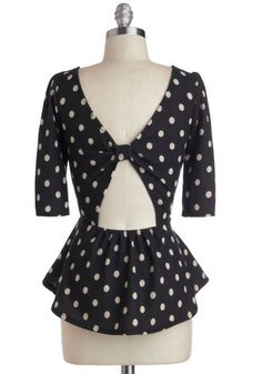 black and white, 3/4 sleeve, polka dots, peplum, cut out back, bow, scoop neck, Convertible Cruise Top, #ModCloth