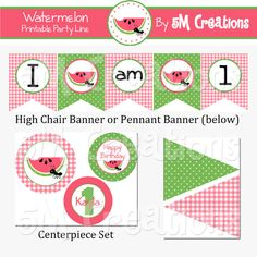 Watermelon Party Package  Watermelon Birthday Party by 5Mcreations, $30.00