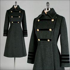 vintage 1970s coat . black wool . military by millstreetvintage, $365.00