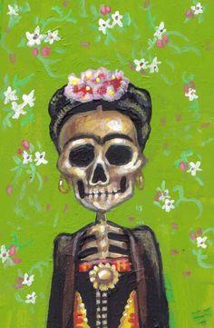 green frida (dio de los muertos), flower of the dead | Dia de los Muertos | Day of the Dead