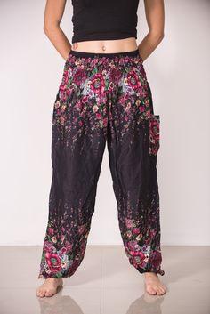 Floral Women's Harem Pants in Black