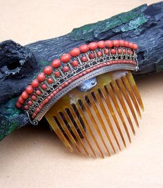 Georgian Hair Comb Carved Coral Tiara Style Hair Accessory
